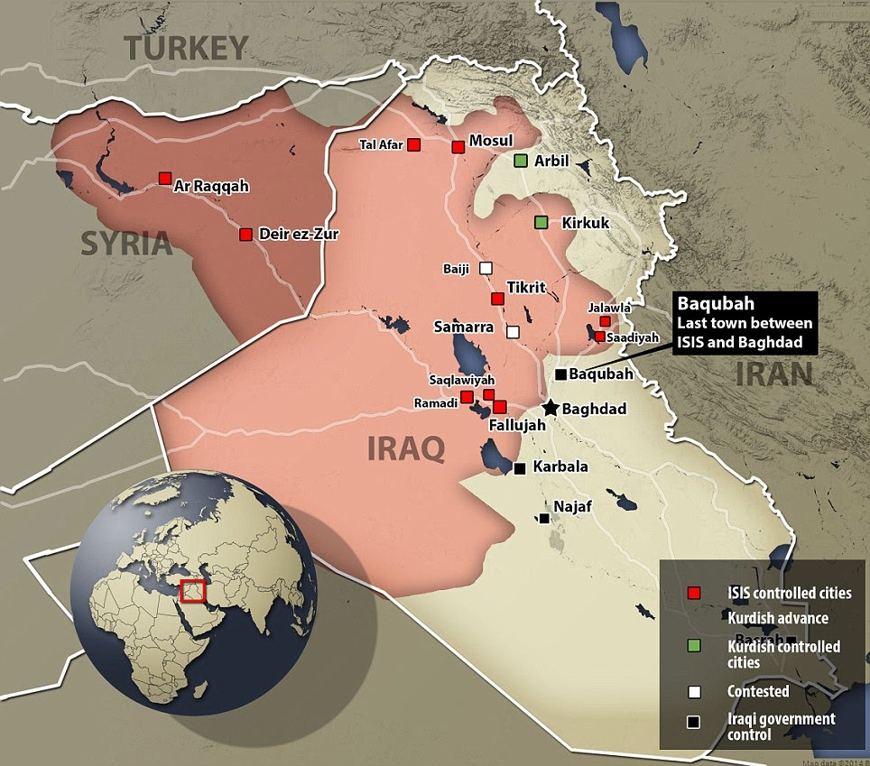 ISIS controlled area in Syria and Iraq