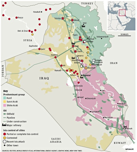 Iraq oil map
