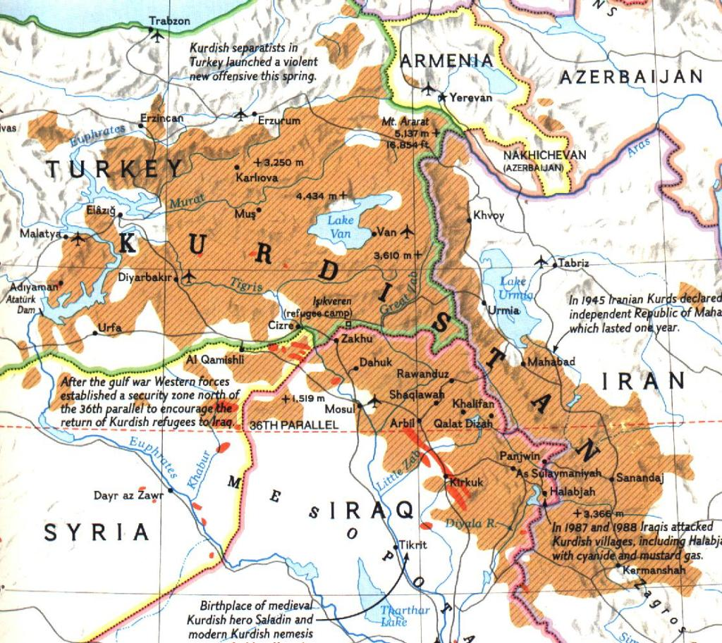 Distribution of Kurds in the region, or greater Kurdistan.