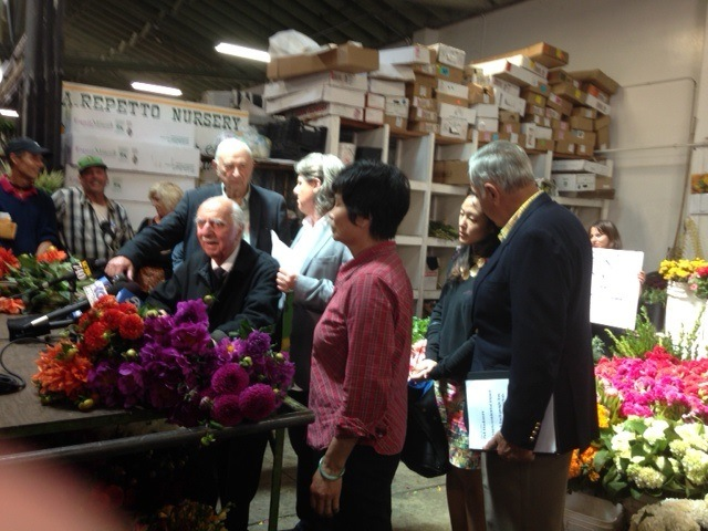 The 92-year-old Albert Nalbandian, dean of the SF florist world, speaks on behalf of saving the Flower Mart