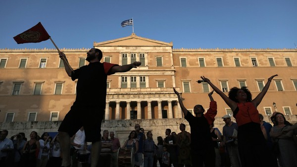 Protesters at a rally this week in the shadow of the Greek parliament building in Athens.